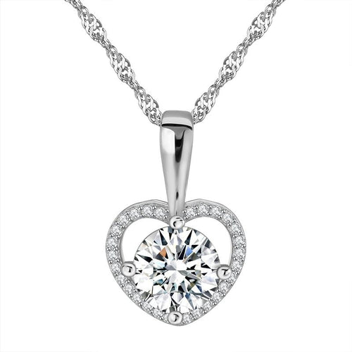 BGFA 925 Sterling Silver Heart Purple CZ Necklace