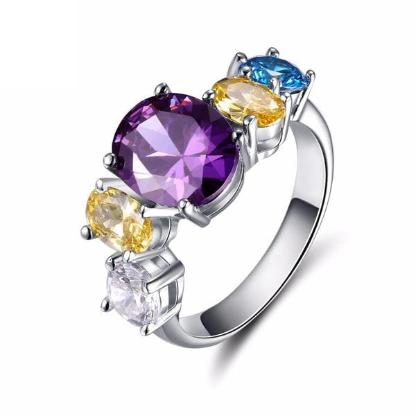BFXWA 925 Sterling Silver Multicolour CZ Ring