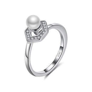 BG374 925 Sterling Silver Pearl & CZ Ring