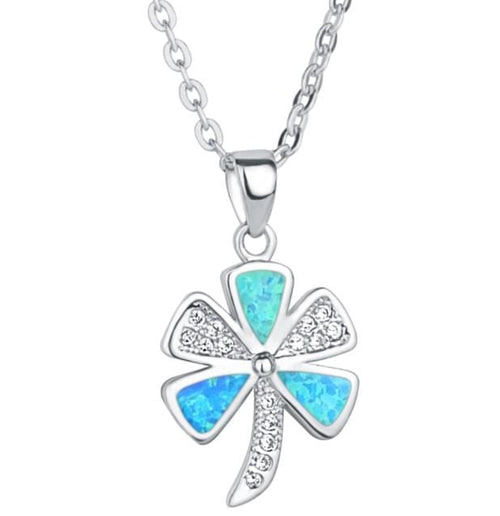 BQRW 925 Sterling Silver CZ & Opal Necklace