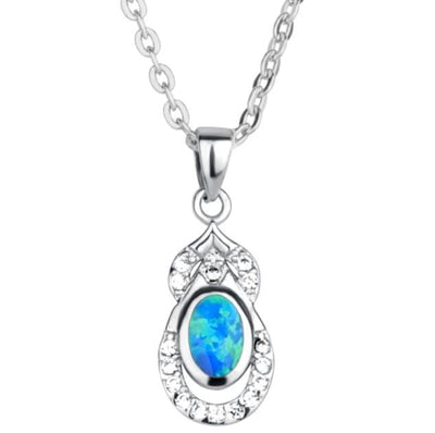 BT4E 925 Sterling Silver Opal & CZ Necklace