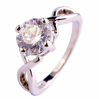 BU8LCWFN 18K White Gold Plated White Topaz Ring