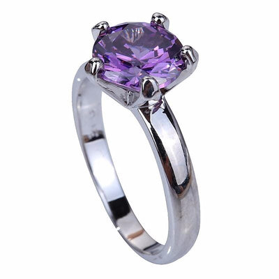 BVK0NUPC 18K White Gold Plated Purple Amethyst Ring