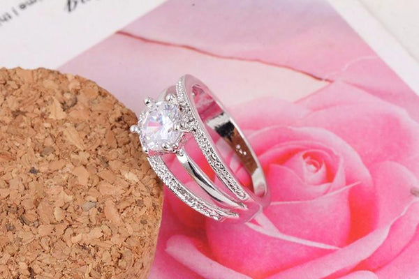 BX51O0N3 Silver Plated CZ Crystal Ring
