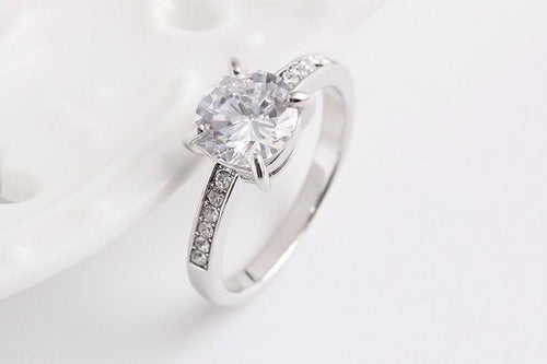 BZRTOKA9 Silver Plated CZ Crystal Ring