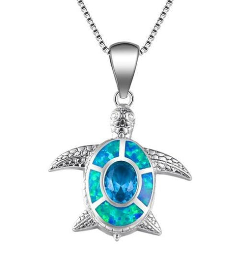 C4S7 925 Sterling Silver Opal Turtle Necklace