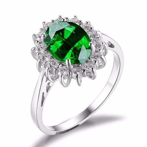 C5DD8P6T 925 Sterling Silver Green Emerald CZ Ring