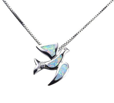 C5HA 925 Sterling Silver Opal Bird Necklace
