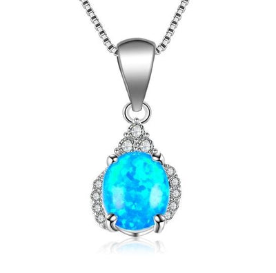 C7VG 925 Sterling Silver Blue Opal CZ Necklace