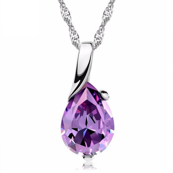 C9DD 925 Sterling Silver Purple CZ Necklace