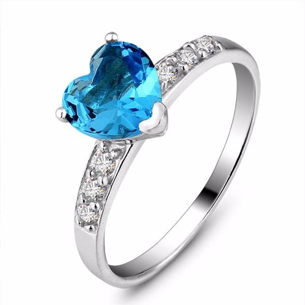 CAAF0N2R 925 Sterling Silver Blue Heart Cut CZ Ring
