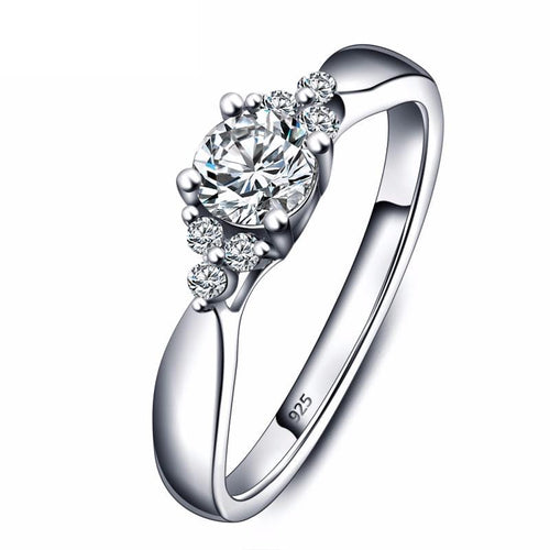 CCN16JXD 925 Sterling Silver Round Cut CZ Ring
