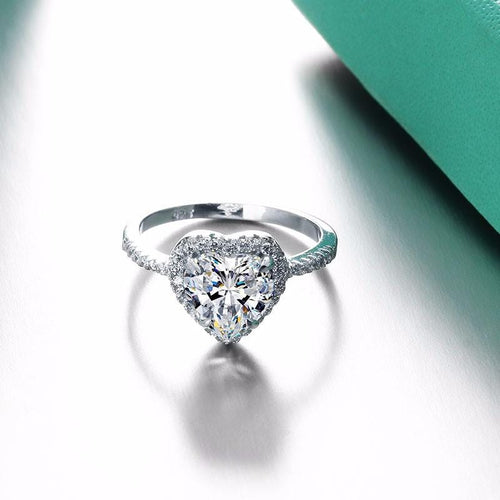 CCTG0D2O 925 Sterling Silver Heart Cut White CZ Ring