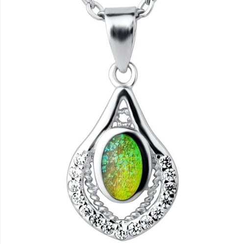 CCY3 925 Sterling Silver Opal Necklace