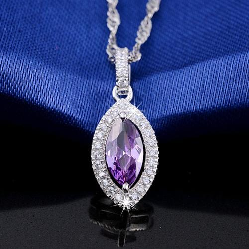 CEH3 925 Sterling Silver Purple CZ Necklace