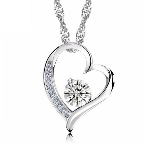 CH2W 925 Sterling Silver Heart CZ Necklace