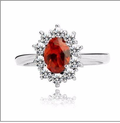 CIVAEMEJ 925 Sterling Silver Red Garnet CZ Ring