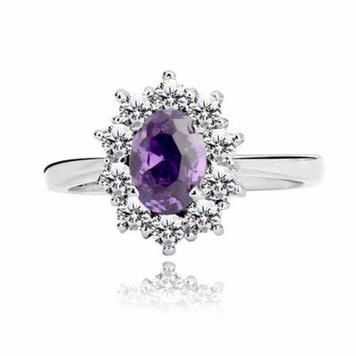 CHSF5AK2 925 Sterling Silver Purple Amethyst CZ Ring