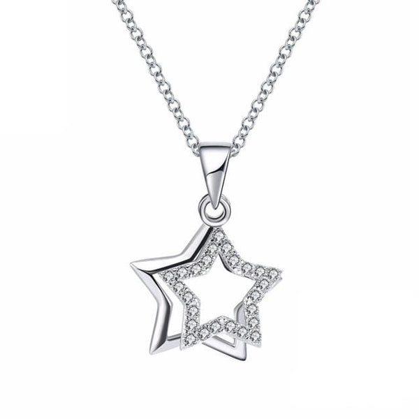 CJ9N 925 Sterling Silver Star CZ Necklace