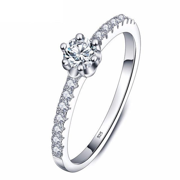 CM6YSFL2 925 Sterling Silver Round Cut CZ Ring