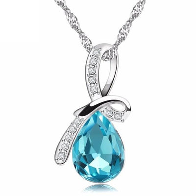 CMD4 925 Sterling Silver Blue Water Drop CZ Necklace
