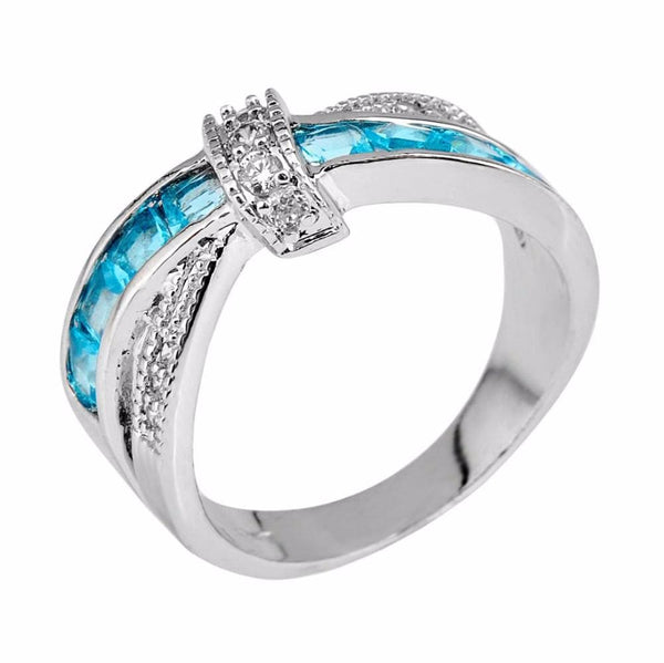 CO4VO5N1 10KT White Gold Filled Aquamarine Sapphire Ring