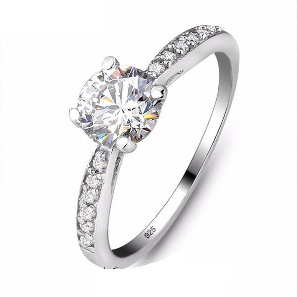 COB5LI1T 925 Sterling Silver Round Cut CZ Ring