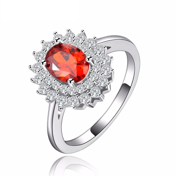 CPUBD786 White Gold Plated CZ Red  Ruby Ring
