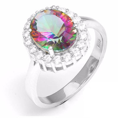 CS29TEZ1 925 Sterling Silver Rainbow Topaz CZ Ring