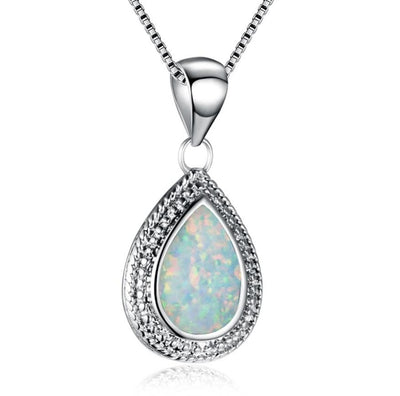 CSBR 925 Sterling Silver Round Blue Or Fire Opal & CZ Necklace