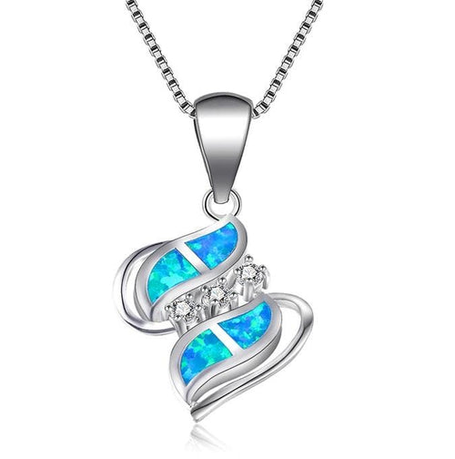 CSVL 925 Sterling Silver Blue Or Fire Opal & CZ Necklace