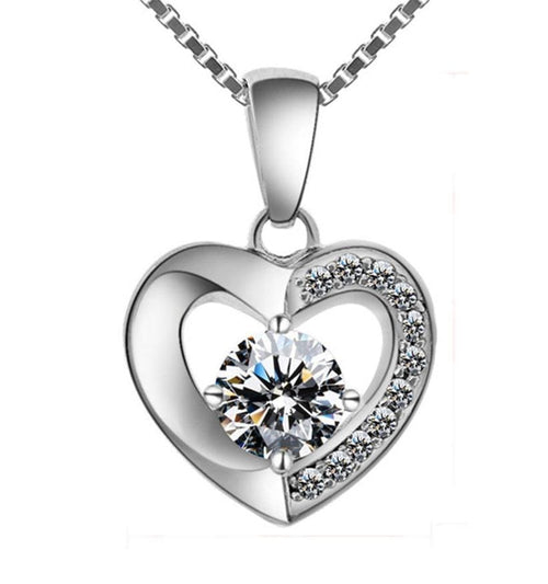 CUH5 925 Sterling Silver Heart CZ Necklace