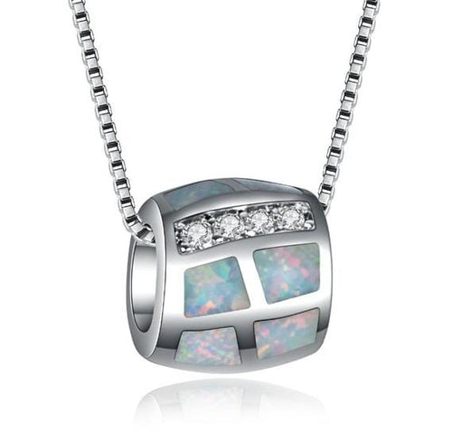CV96 925 Sterling Silver Blue Or Fire Opal & CZ Necklace