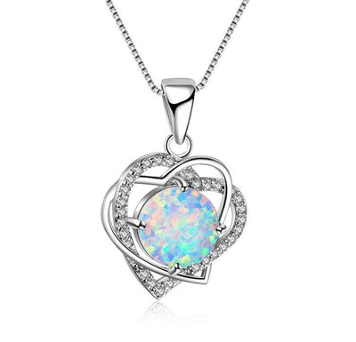 CVHC 925 Sterling Silver Heart Fire Opal & CZ Necklace