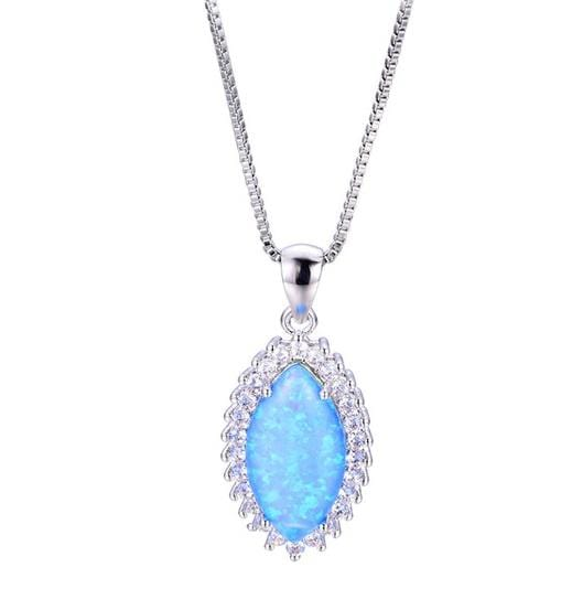 CWQL 925 Sterling Silver Blue Opal & CZ Necklace