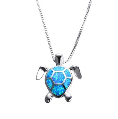 CXYM 925 Sterling Silver Blue Opal & CZ Turtle Necklace