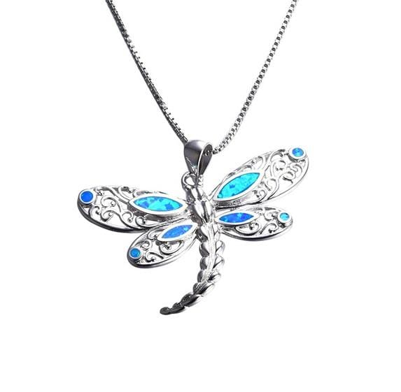 CY3R 925 Sterling Silver Blue Opal & CZ Dragonfly Necklace