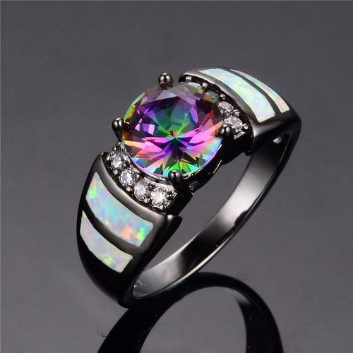 CZ98SLO8 10KT Black Gold Filled Rainbow Opal Ring