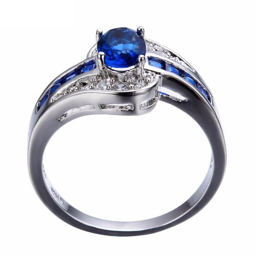 CZETRV83 10KT White Gold Filled Oval Cut Blue Sapphire Ring