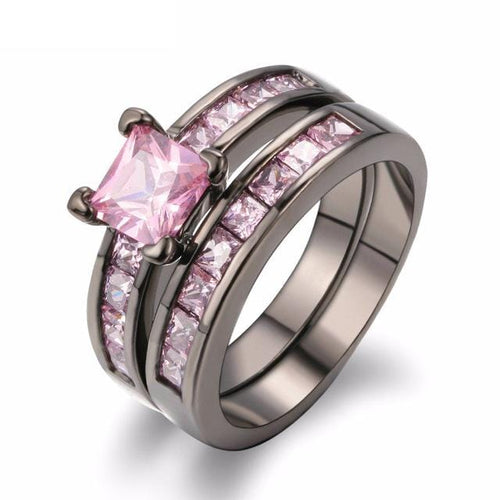 D0XYDVPO 18K Black Gold Plated Pink Square CZ Ring Set