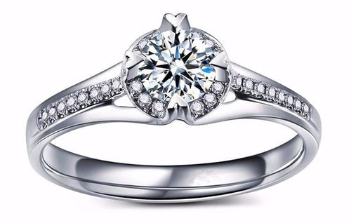 DBIMLEQF White Gold Plated Round CZ Ring