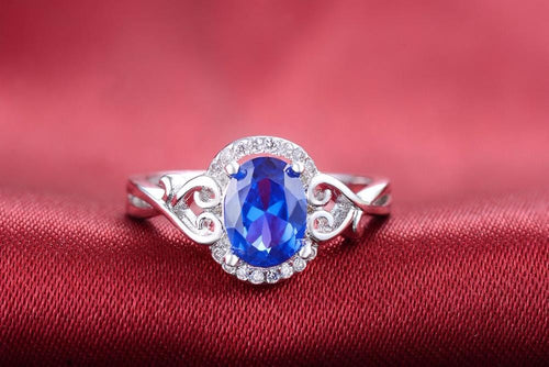 DBNDK7MR White Gold Plated Round Sapphire Ring