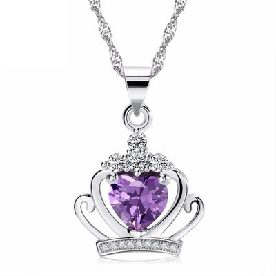 DCMW 925 Sterling Silver Crown Heart Purple CZ Necklace