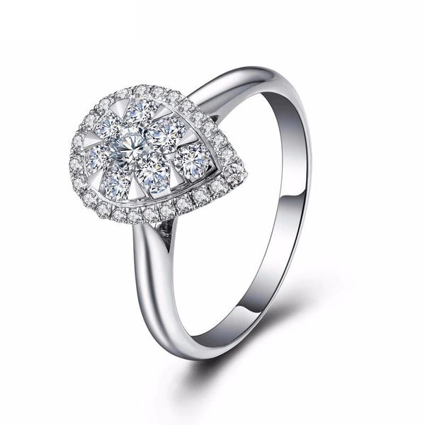 DCQ7CVG7 White Gold Plated Water Drop CZ Ring