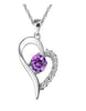 DDKN 925 Sterling Silver Heart Purple CZ Necklace