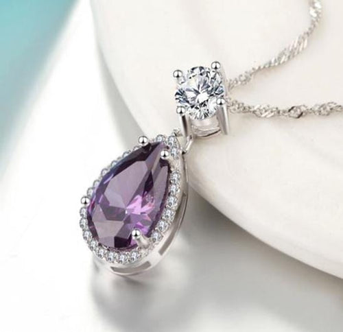 DH4Y 925 Sterling Silver Purple CZ Necklace