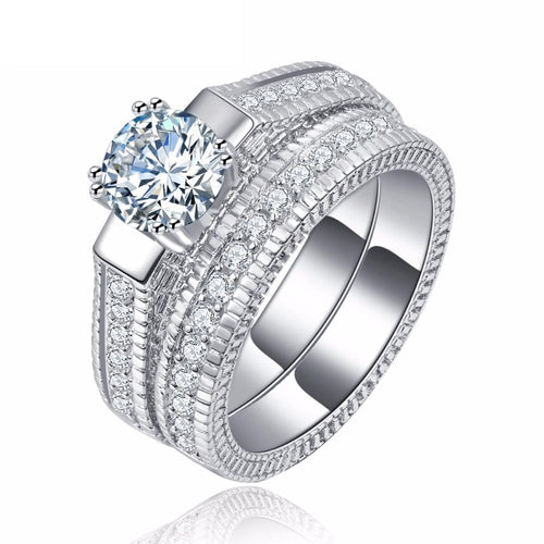 DJWB4G6E White Gold Plated Round CZ Ring Set