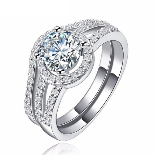 DKM6I6EP White Gold Plated Halo Round CZ Ring Set