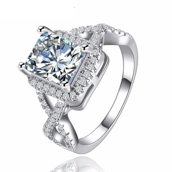 DMR8PPCH White Gold Plated Square CZ Ring
