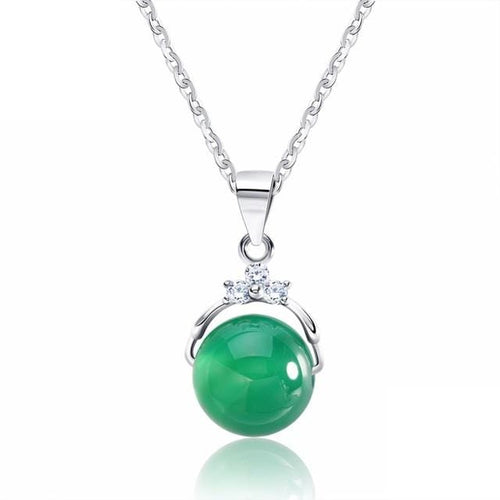 DNMR 925 Sterling Silver Green Cat's Eye Necklace